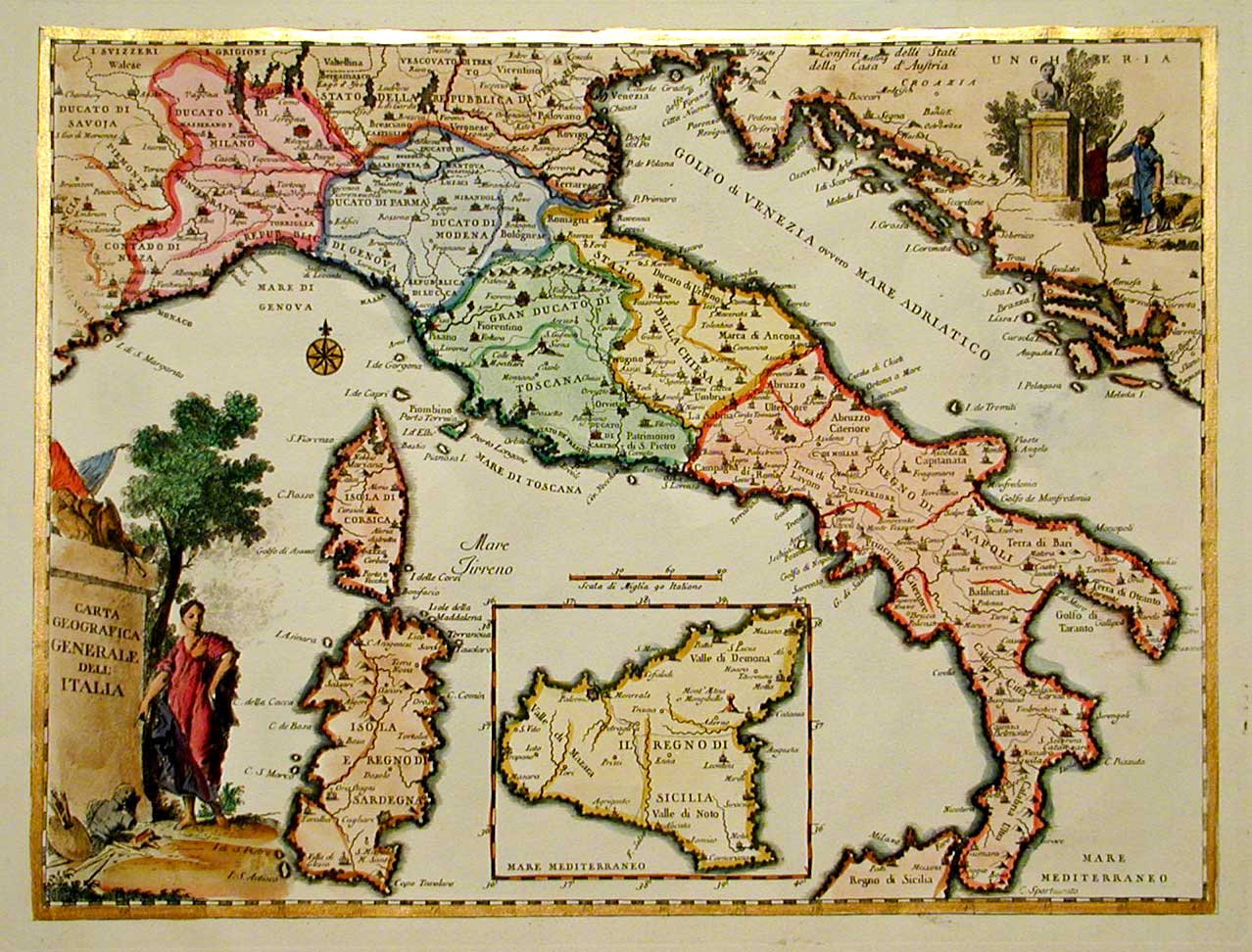 Carte Italie Ancienne.Cartes Geographiques De L Italie Gravures Cartes Anciennes